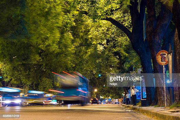Cars and Buses Driving at Night, Buenos Aires, Argentina