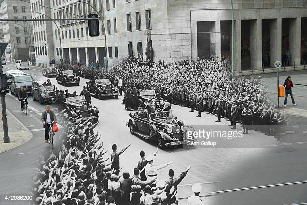 In this digital composite image a comparison has been made showing crowds saluting to Adolf Hitler passing by in a motorcade on October 2 1938 and a...