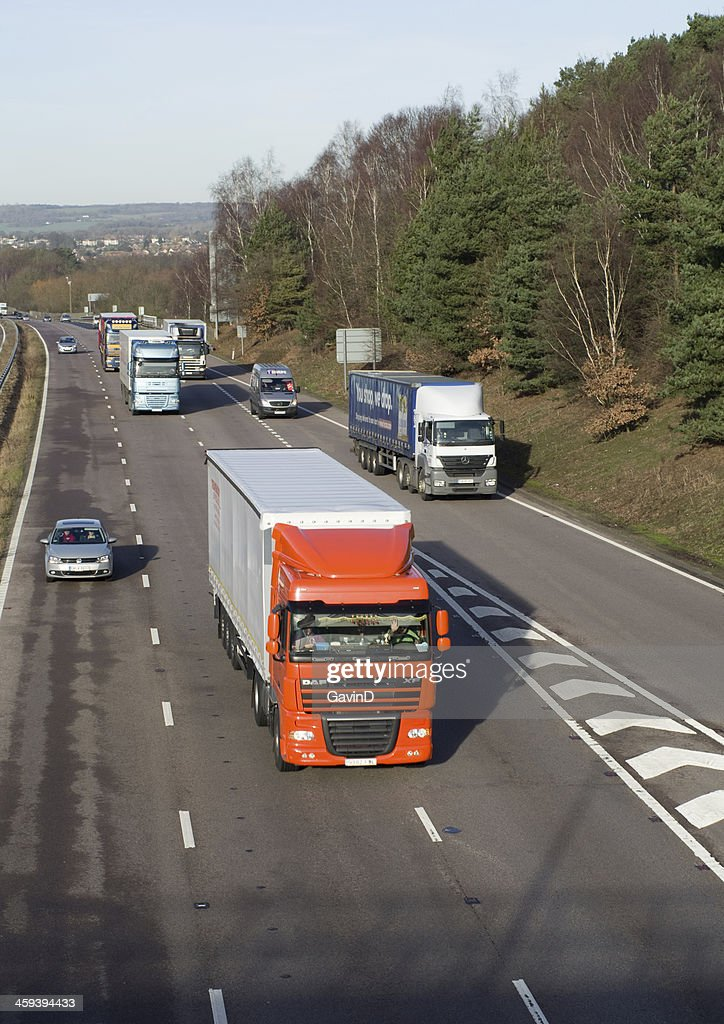 Cars and lorries head east along M20 Motorway : Stock Photo