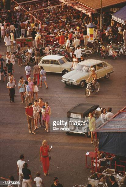 Cars and pedestrians on the busy seafront at SaintTropez in southeastern France September 1970