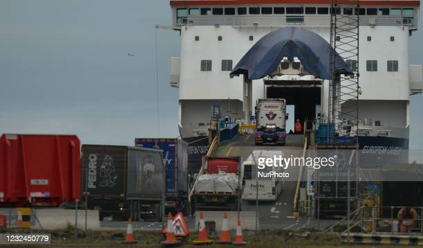 Cars and trucks boarding the Larne to Cairnryan ferry in Larne Harbor in County Antrim. On Tuesday, April 20 in Larne, County Antrim, Northern Ireland
