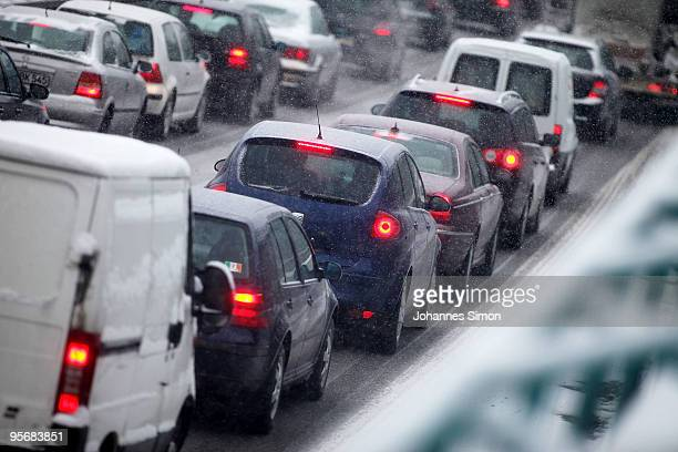 Cars and trucks stuck in a traffic jam on motorway A96 on January 11 2010 near Windach Germany Depression 'Daisy' brought havoc in Germany as...