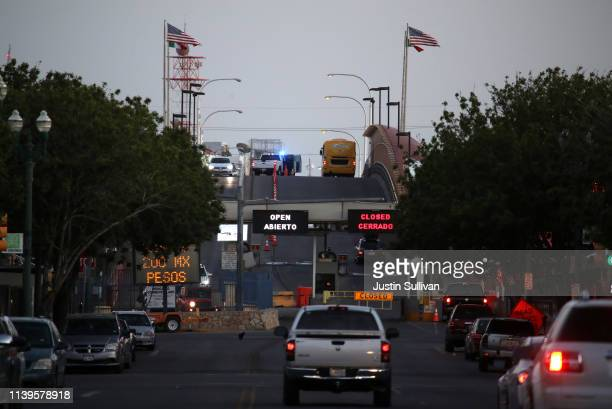 Cars approach the Stanton Street Port of Entry on March 31, 2019 in El Paso, Texas. U.S. President Donald Trump has threatened to close the United...