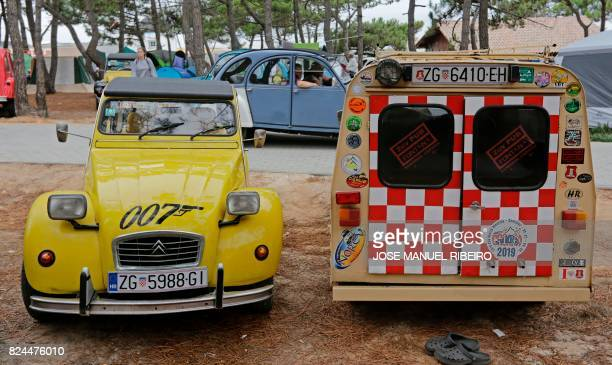 Cars are are parked at a camping site in Ericeira during the World 2017 2CV Meeting July 30, 2017. - The event is held between the 26th and the 31st...
