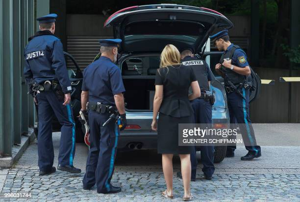 Cars are controlled at the regional court in Munich before the proclamation of sentence in the trial against Beate Zschaepe the only surviving member...