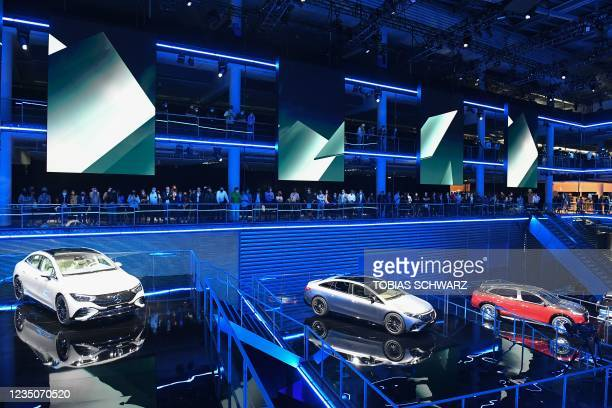 Cars are displayed during the Mercedes-Benz pre-night of the International Motor Show Germany, on September 5, 2021 in Munich.