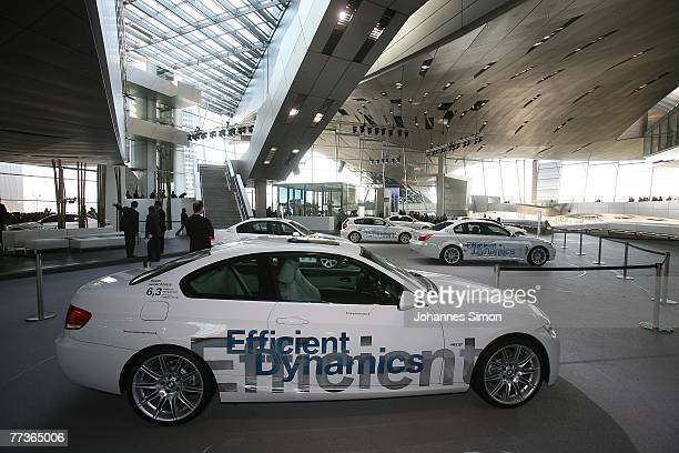 BMW cars are displayed during the opening ceremony of BMW World on October 17 2007 in Munich Germany BMW World is a representative architecturally...
