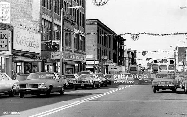Cars are double parked between Perkins Square and F Street in South Boston on Nov 12 1980