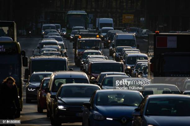 Cars are in a traffic jam on a street in Berlin city center on February 14 2018 in Berlin Germany