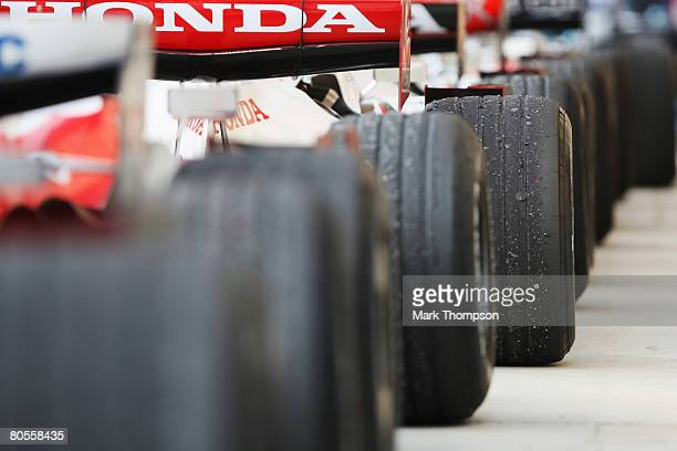 Cars are lined up in parc ferme following the Bahrain Formula One Grand Prix at the Bahrain International Circuit on April 6 2008 in Sakhir Bahrain