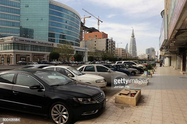 Cars are parked along Al Olaya street one of the most busy streets in Riyadh on December 7 2015 in Riyadh Saudi Arabia The Kingdom of Saudi Arabia...