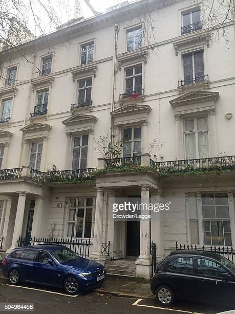 Cars are parked in front of the home of British actor Alan Rickman who passed away on January 14 2016 in London England