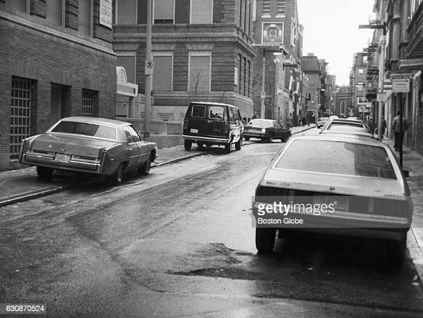 Cars are parked on either side of the North End's Prince Street in Boston on Jan 3 1986 Due to lack of adequate parking in the North End the city...
