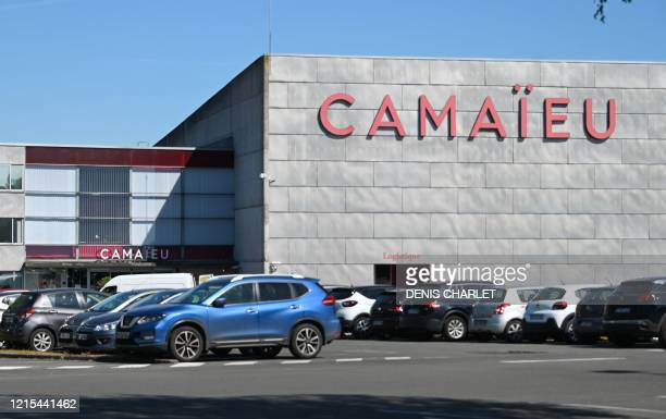 Cars are parked on May 20 2020 outside the headquarters of the Camaieu clothing brand in Roubaix northern France Victim of the Covid19 crisis...