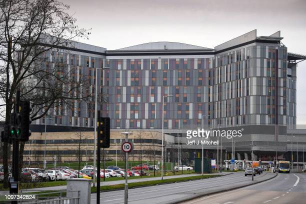 Cars are parked outside Queen Elizabeth University Hospital on January 21 2019 in Glasgow Scotland Two patients have died at the Glasgow hospital...