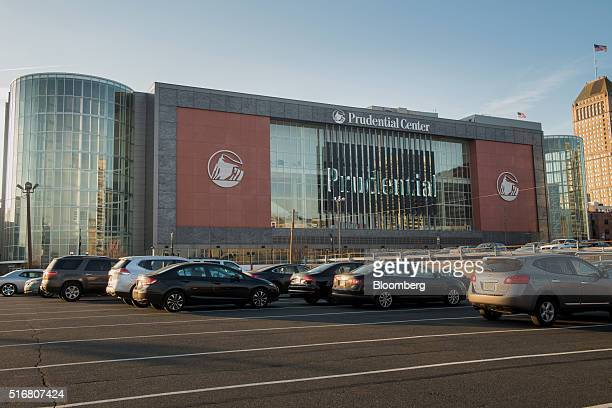 Cars are parked outside the Prudential Center in Newark New Jersey US on Wednesday March 9 2016 New Jersey's credit rating has tumbled to the...