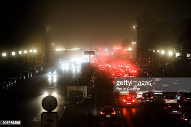 Cars are pictured during the rush hour on January 10 2018 in Berlin Germany