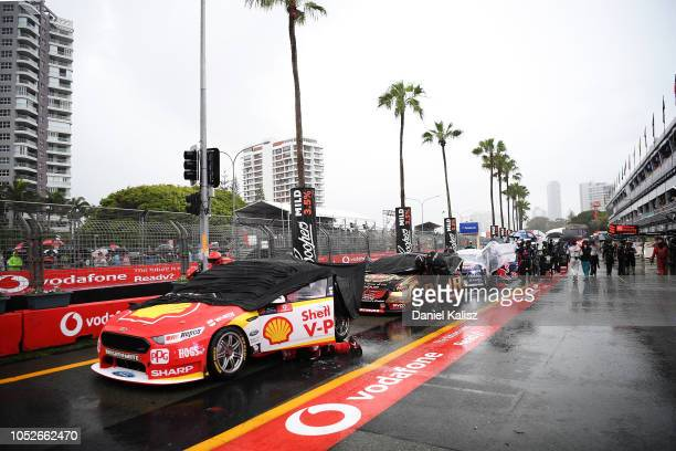 Cars are pictured in pit lane during a red flag period during race 27 for the Supercars Gold Coast 600 on October 21 2018 in Gold Coast Australia