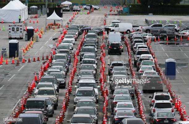 Cars are seen as the drivers wait to be tested for COVID-19 at the COVID test site located in the Hard Rock Stadium parking lot on July 06, 2020 in...