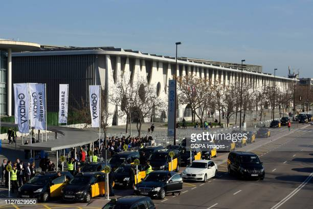 L´HOSPITALET CATALONIA SPAIN Cars are seen at the taxi station of the Mobile World Congress
