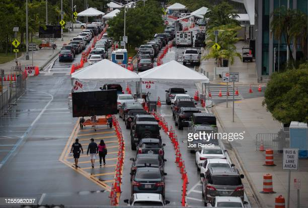 Cars are seen in line as the drivers wait to be tested for COVID-19 at the COVID test site located at the Miami Beach Convention Center on July 13,...