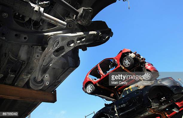 Cars are stacked awaiting dismantling and recycling at CMS Vehicle Solutions Ltd on August 11 2009 in Gloucester England The large vehicle salvage...
