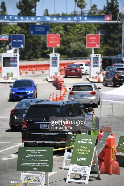 Cars arrive at a drive-through COVID-19 test site, July 15, 2020 at Dodgers Stadium in Los Angeles, California. - Los Angeles County Public health...