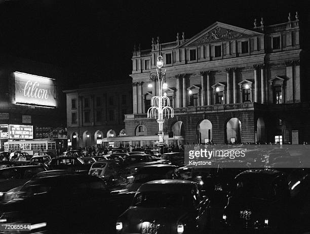 Cars arrive at Il Teatro alla Scala, better known as La Scala, Milan's famous opera house, for the inauguration of the winter season, 7th December...