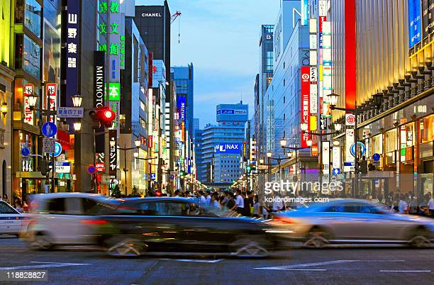 Cars at crossing in Ginza