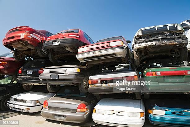 Cars at scrap yard