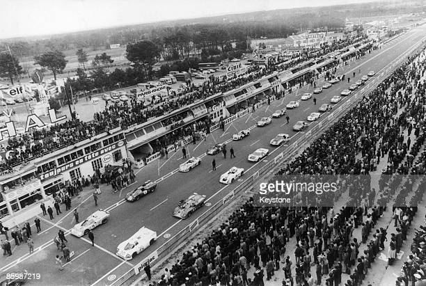 Cars at the start of the 3 Hours of Le Mans a nonchampionship race held at at the Circuit de la Sarthe France 18th April 1971 The rolling start used...