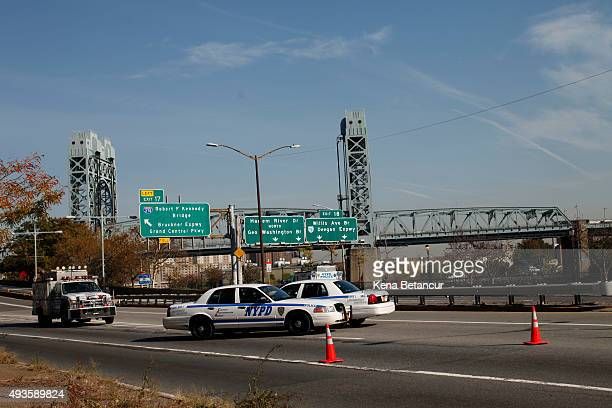 NYPD cars blocks the FDR as investigations continue after a NYPD officer was killed in a confrontation with an armed suspect fleeing police on a...
