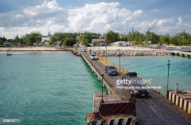 cars boarding the ferry leaving cancun - isla mujeres stock photos and pictures