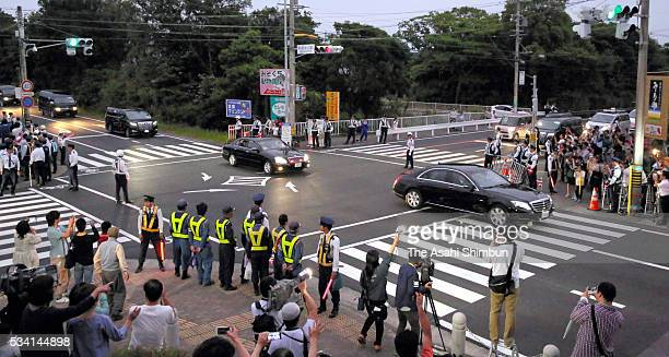 Cars carrying British Prime Minister David Cameron runs on the way to the Kashikojima Island main venue of the Group of Seven summit on May 25 2016...