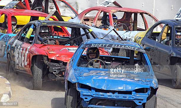 Cars compete in the 2litre National Bangers Heat race at the United Downs Raceway banger racing meet in St Day near Redruth on April 4 2010 in...