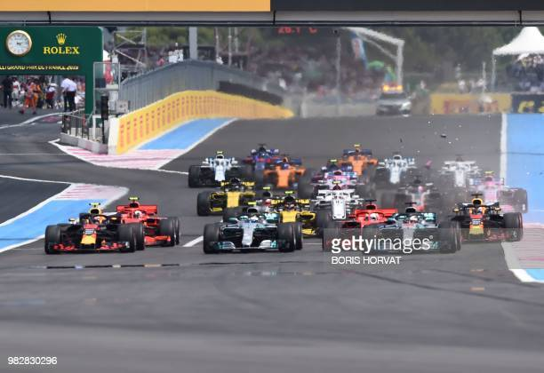 Cars crash at the start of the Formula One Grand Prix de France at the Circuit Paul Ricard in Le Castellet, southern France, on June 24, 2018.