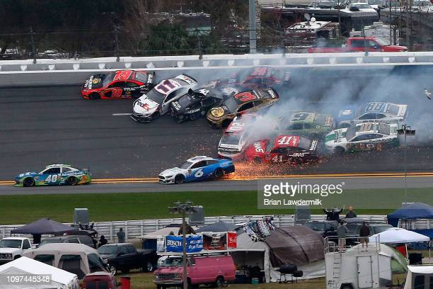 Cars crash during the Monster Energy NASCAR Cup Series Advance Auto Parts Clash at Daytona International Speedway on February 10 2019 in Daytona...
