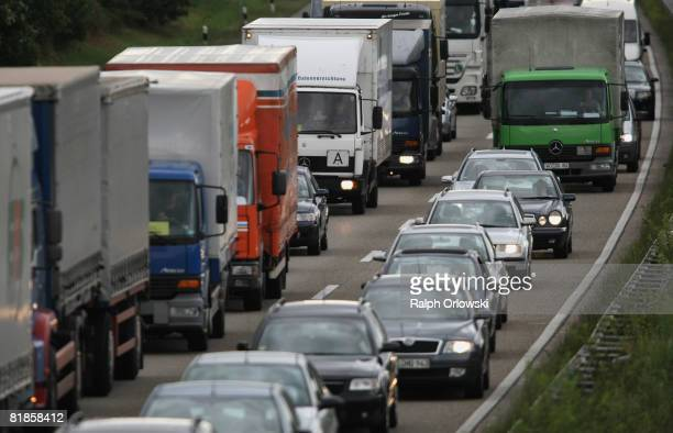 Cars crawl along in a traffic jam during rush hour on the main highway between Frankfurt and Mainz near Ruesselsheim on July 8 2008 in Ruesselsheim...