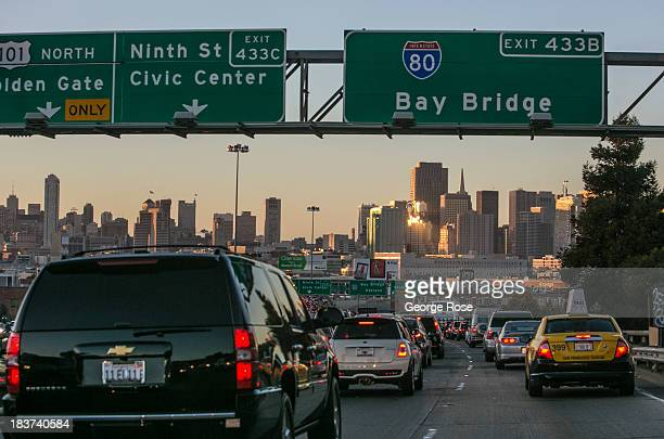 Cars crawl along the downtown connector of Interstate 80 and Highway 101 to the Bay Bridge on September 20 in San Francisco, California. Heavy...