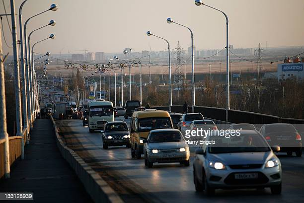Cars cross a bridge during the evening rush hour on November 17 2011 in RostovnaDonu Russia RostovnaDonu is one of thirteen cities proposed as a host...