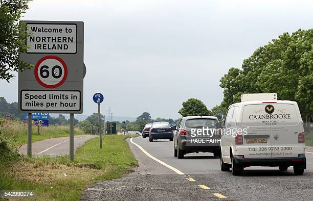 Cars cross the controless border between Ireland and Northern Ireland in Donegal Ireland on June 25 2016 The result of Britain's June 23 referendum...