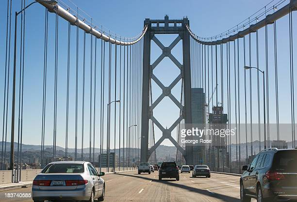 Cars cross the original western span of the Bay Bridge on September 20 in San Francisco, California. Heavy commuter traffic continues to plague the...