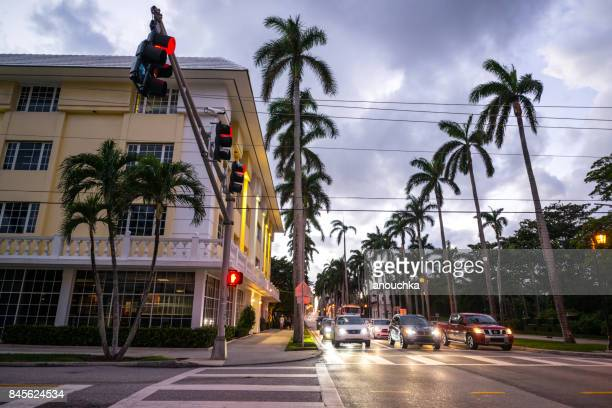 Cars crossing street, Palm Beach, Florida, USA