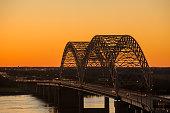 Cars crossing the Hernando de Soto Bridge, Memphis, Tennessee