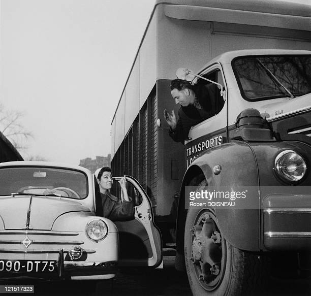 Cars Cycles And Motorbikes, Conversation Between Simone Bicheron In Her 4Cv And Lorry Driver, December 1955