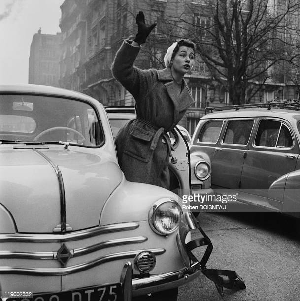 Cars Cycles And Motorbikes, Simone Bicheron And Her Car 4Cv, December, 1955