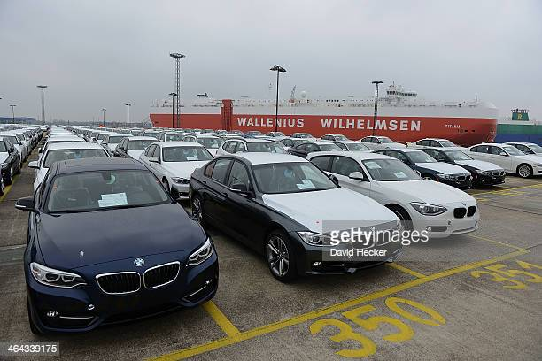 BMW cars destined for export overseas stand parked and waiting to be loaded onto ships on January 22 2014 in Bremerhaven Germany Bremerhaven is...