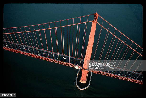 Cars drive across the Golden Gate Bridge which connects San Francisco to Marin County The bridge was under construction from 1933 to 1937 With a span...