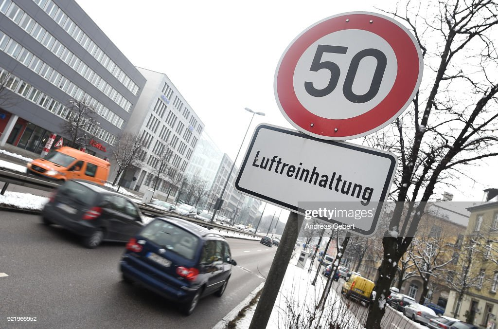 Cars drive along Landshuter Allee, one of the streets in Germany with the highest measured levels of nitrogen oxides, next to a traffic sign that shows a speed limit of 50 km/hour and reads: 'air pollution control' on February 21, 2018 in Munich, Germany. The German Federal Court of Justice (Bundesgerichtshof) in Leipzig is due to rule tomorrow whether German cities may impose bans or partial bans on diesel cars in order to bring down emissions levels. While the court is deciding on the measures for Stuttgart and Dusseldorf, the ruling will set an important precedent, especially for Munich, which in 2017 had the highest levels of nitrogen oxides (NO2) of any city in Germany. A total of 70 German cities are struggling to bring down their emissions in order to conform to European Union-mandated levels.