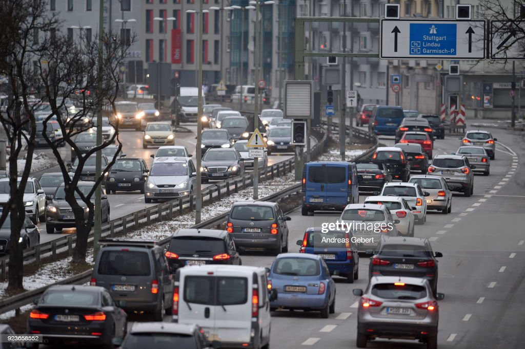 Cars drive along Mittlerer Ring on February 23, 2018 in Munich, Germany. The German Federal Court of Justice (Bundesgerichtshof) in Leipzig is due to rule tomorrow whether German cities may impose bans or partial bans on diesel cars in order to bring down emissions levels. While the court is deciding on the measures for Stuttgart and Dusseldorf, the ruling will set an important precedent, especially for Munich, which in 2017 had the highest levels of nitrogen oxides (NO2) of any city in Germany. A total of 70 German cities are struggling to bring down their emissions in order to conform to European Union-mandated levels.